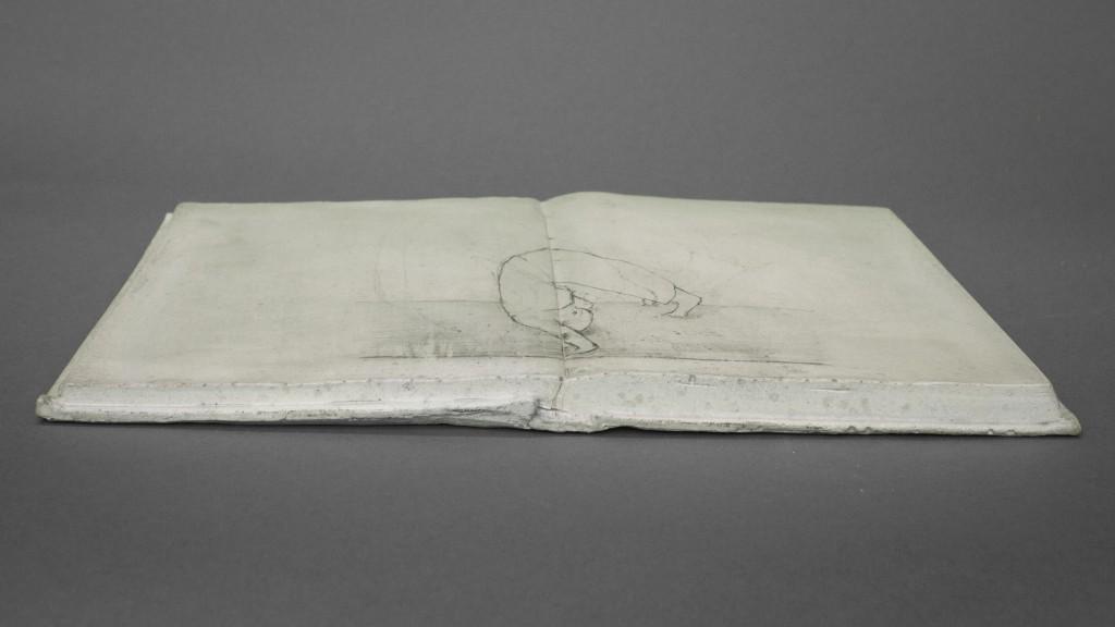 """Somersault"" - Book sculpture, Jesmonite and anamorphic pencil drawing by Annika Bergqvist Kupiainen"