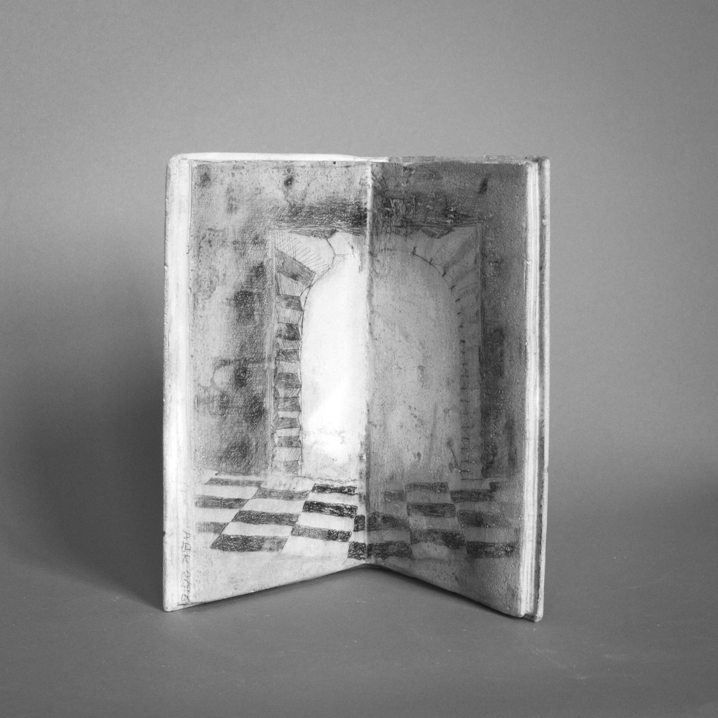 Gate - book sculpture with anamorphic drawing by Annika Bergqvist Kupiainen