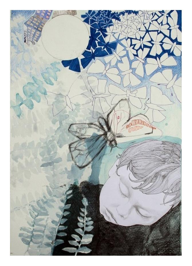 Butterflies, blyerts, collage, akvarell, tusch, 50 x 70 cm