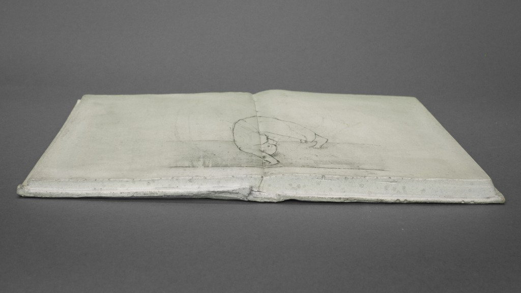 """Somersault"" - Book sculpture, Jesmonite and anamorphic pencil drawing by Annika Bergqvist Kupiainen"