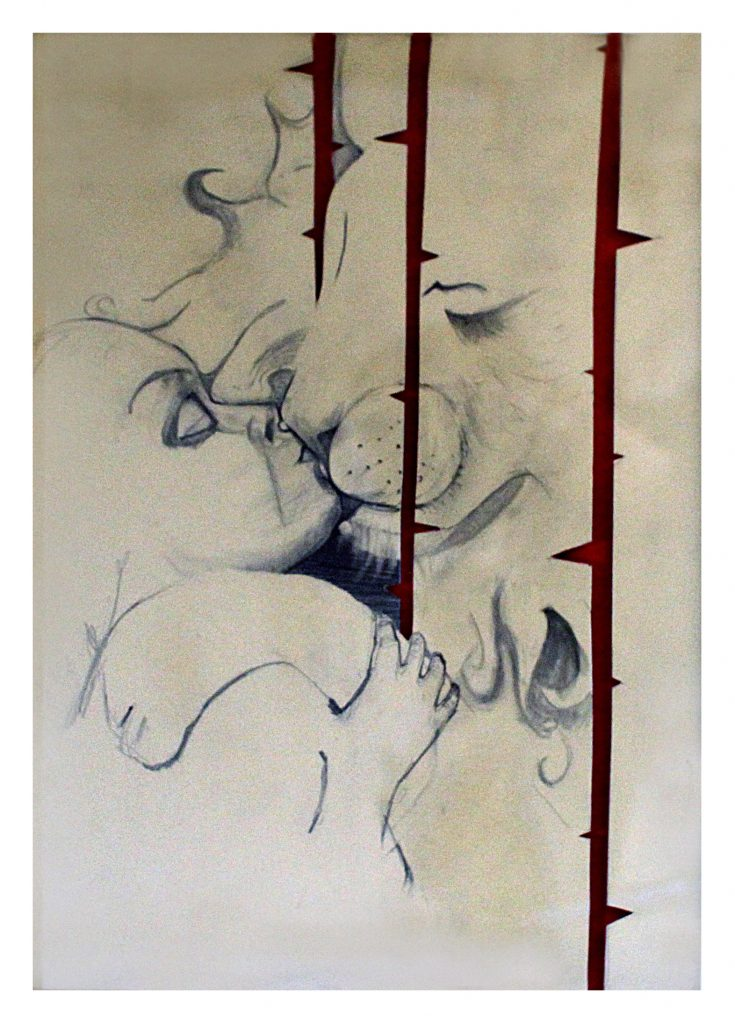 Buren/buren, blyerts, collage, 29 x32 cm